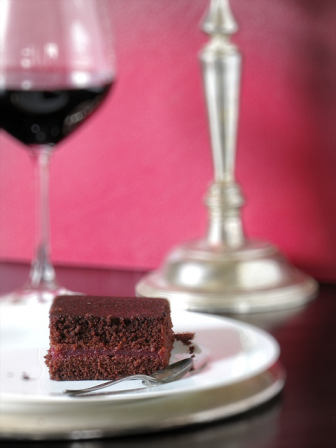 Red wine and chocolate cake